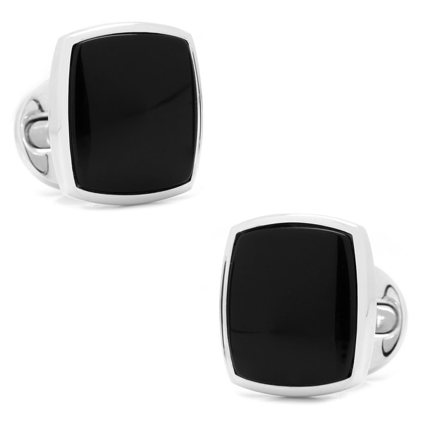 Sterling Silver Classic Cushion Onyx Cufflinks