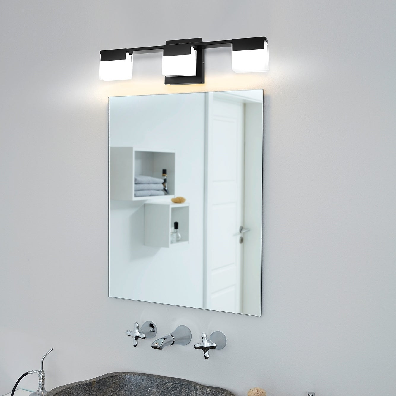 Image of: Shop Black Friday Deals On Eglo Vente 3 Light Mate Black Led Bath Vanity Light With Square Frosted Glass Overstock 30391763