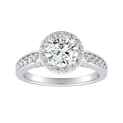 Auriya 14k Gold 1/2ct Round Moissanite Halo Diamond Engagement Ring 1/2cttw