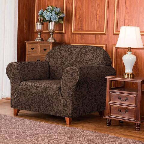 Subrtex 1-Piece Couch Armchair Slipcover Jacquard Damask Stretch Cover