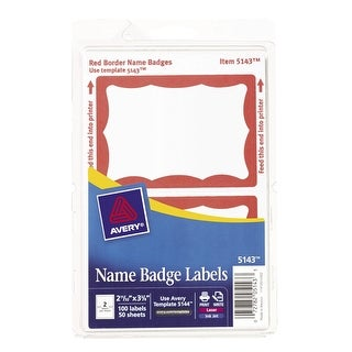 Avery Removable Self-Adhesive Name Badge Labels For Laser and Inkjet Printers, 2-11/32 x 3-3/8 in, Red Border, Pack of 100