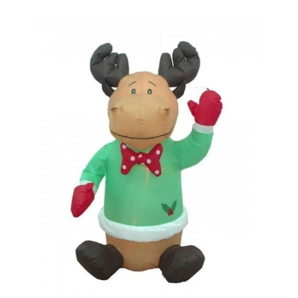 4' Airblown Inflatable Sitting Moose Lighted Christmas Outdoor Decoration