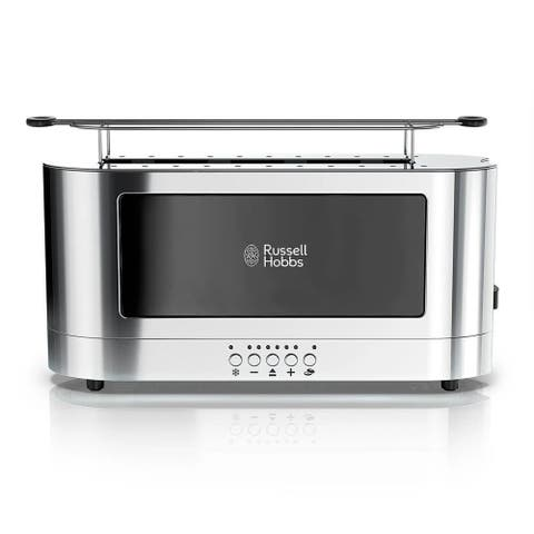 Russell Hobbs Stainless Steel 2 Slice Long Toaster Black Glass