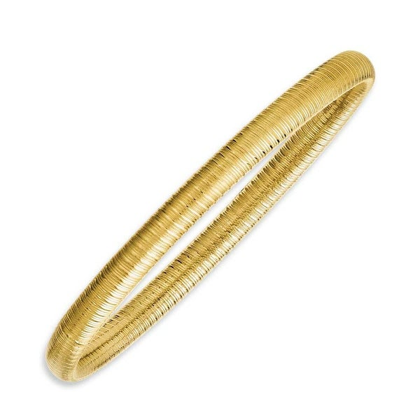 Chisel Stainless Steel Yellow IP-plated Textured Hollow Slip-on Bangle