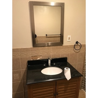 Shop stainless steel finish framed bathroom full length Stainless steel framed bathroom mirrors