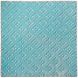 """Salvaged Tin Ceiling Tile 12""""X12""""-Turquoise Rosette"""