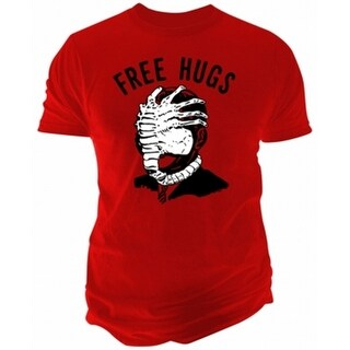 Fruit of the Loom NEW Red Mens Small S Facehugger Alien Free Hugs T-Shirt