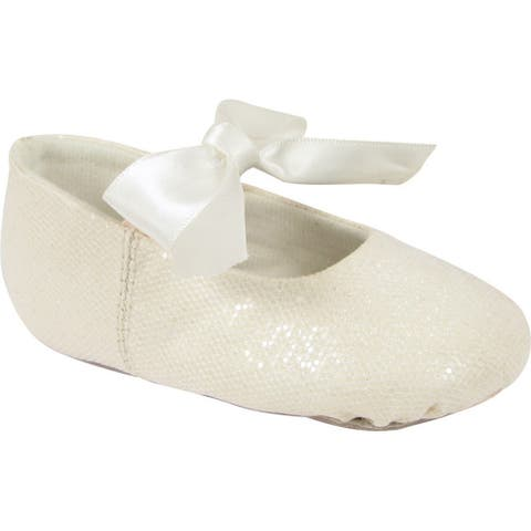 Girls White Leather Outsole Satin Bow Glitter Ballet Shoes 2 Baby-12 Kids