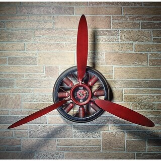 Airplane Propeller Wall Clock - Large Metal Clock - 2 Feet 6 Inches Wide - By Portman Studios