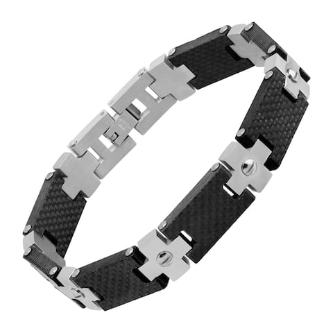 Men's Two-Tone Cross Link Bracelet in Stainless Steel