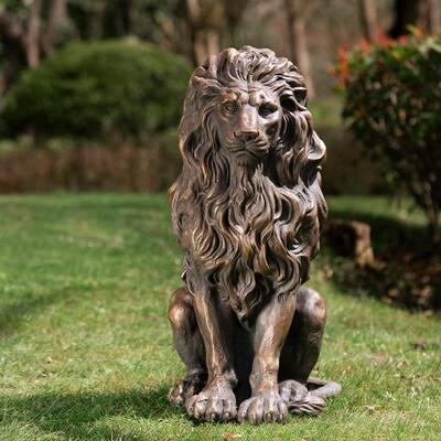 Glitzhome MGO Guardian Standing Lion Statue
