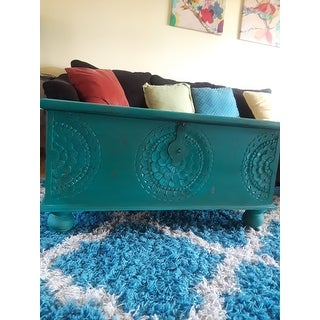 "Handmade Wanderloot Leela Teal Blue Medallion Coffee Table Trunk (India) - 18""H x 18""W x 35""L"
