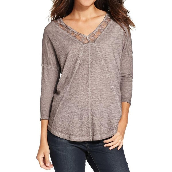 DKNY Jeans Womens Pullover Top Lace-Trim Double V