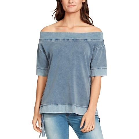 William Rast Womens Sweatshirt Off-The-Shoulder Short Sleeves