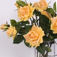 """G Home Collection Luxury Real Touch 3 Rose Bloom Stem in  Champagne Yellow 33"""" Tall"""