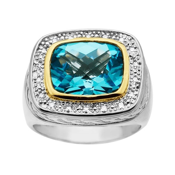 6 1/2 ct Swiss Blue Topaz Ring in Sterling Silver and 14K Gold with Diamonds