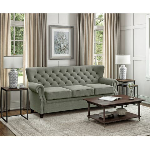 Gracewood Hollow Cecilia Button Tufted Rolled Arm Sofa