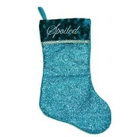 "17"" Metallic Blue Embroidered  ""Spoiled"" Christmas Stocking with Shadow Velveteen Cuff"