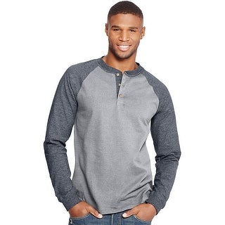 Hanes Men's Beefy-T Long-Sleeve Colorblock Henley - Size - M - Color - Oxford Gray/Slate Heather