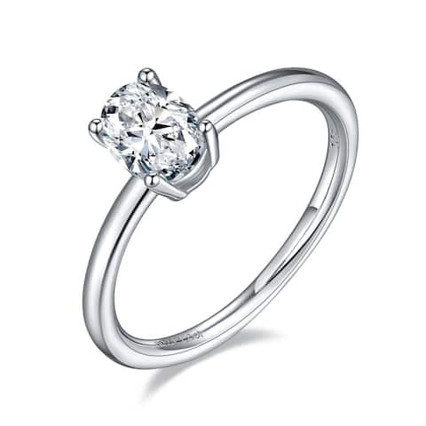 TwoBirch 1 Carat Moissanite Oval Solitaire in Platinum Plated Sterling Silver (GRA CERTIFIED)