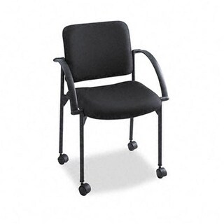 Safco 4184BL Moto Stacking Chairs Black Fabric Upholstery Two/Carton