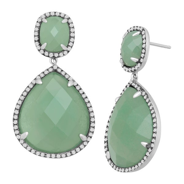 Natural Aventurine & Cubic Zirconia Drop Earrings in Sterling Silver - Green