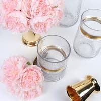 G Home Collection Luxury Gold Metallic Line Glass Vase in Various Sizes