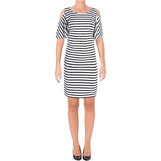 Lauren Ralph Lauren Womens Casual Dress Striped Cold Shoulder