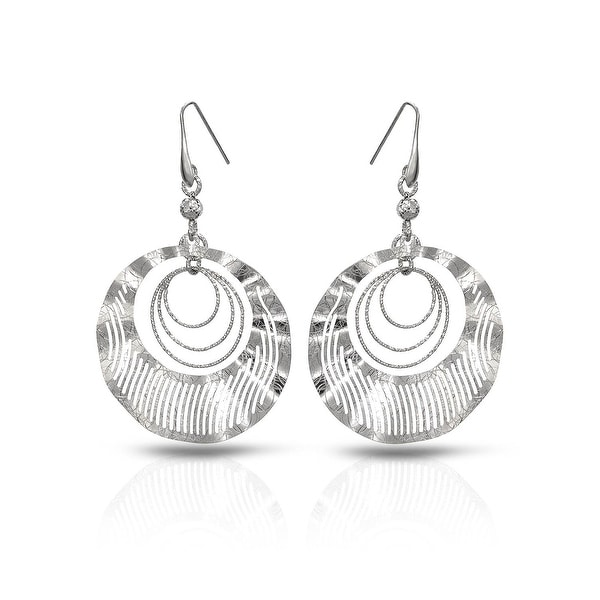 Mcs Jewelry Inc STERLING SILVER 925 ROUND OPEN DISK EARRINGS (87MM)