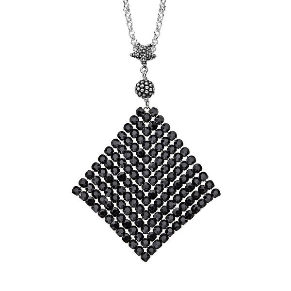 Aya Azrielant Mesh Pendant with Jet Black Swarovski Crystals in Sterling Silver