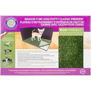 """Indoor Turf Dog Potty Classic Premier Connectable 16""""X24""""-With Pad/Hike Shield"""