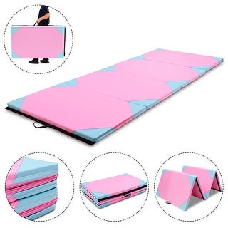 Gymax 4'x10'x2'' Gymnastics Mat Thick Folding Panel Gym Fitness Exercise Blue & Pink