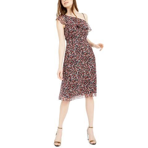 Bar III Women's Printed Asymmetric Sheath Dress Black Size 0