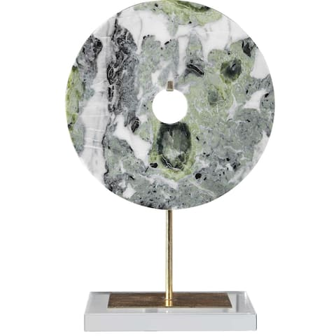 """18"""" Green and Gray Disc Sculpture with Gold Stand"""