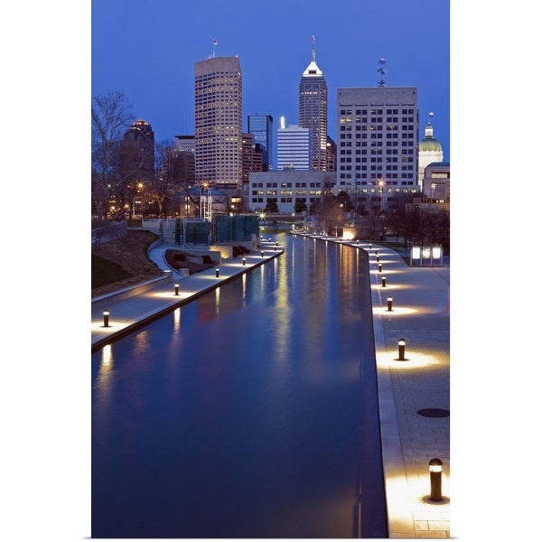 """""""Indiana, Indianapolis, Skyline with river"""" Poster Print"""
