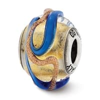 Italian Sterling Silver Reflections Yellowith Blue & Brown Textured Lines Glass Bead (4mm Diameter Hole)