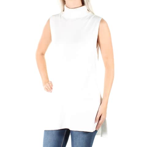 ALFANI Womens Ivory Sleeveless Turtle Neck Hi-Lo Top Size: S