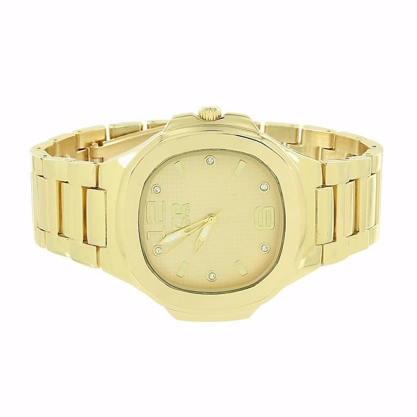Mens Designer Ice Master Gold Tone Watch Stainless Steel Back Water Resistant Analog Dial Sale