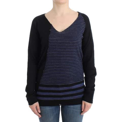 Costume National Black striped V-neck Women's sweater