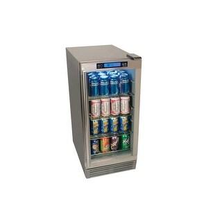 EdgeStar OBR900 15 Inch Wide 84 Can Built-In Outdoor Beverage Refrigerator with Triple-Pane Glass Door