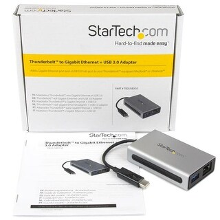 Startech Tb2usb3ge Thunderbolt To Gb Ethernet W/ Usb 3.0 Thunderbolt Adapter