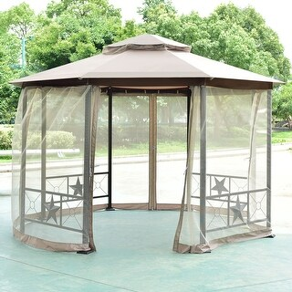 Costway Octagon 2-Tier 12.5ft Outdoor Gazebo Canopy Shelter Awning Curtain Steel