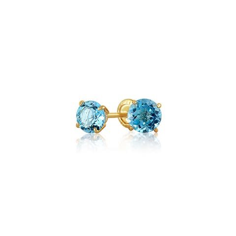 Tiny Cubic Zirconia Light Blue Imitation Blue Topaz CZ Round Solitaire Stud Earrings Real 14K Yellow Gold Screwback