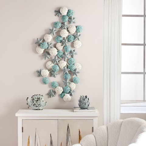 Porch & Den Starfish, Seashell, and Sand Dollar Metal Wall Sculpture