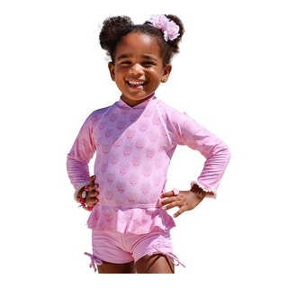 Link to Sun Emporium Little Girls Blush Cardamon Long Sleeve Rash Guard Boyleg Sun Set Similar Items in Girls' Clothing