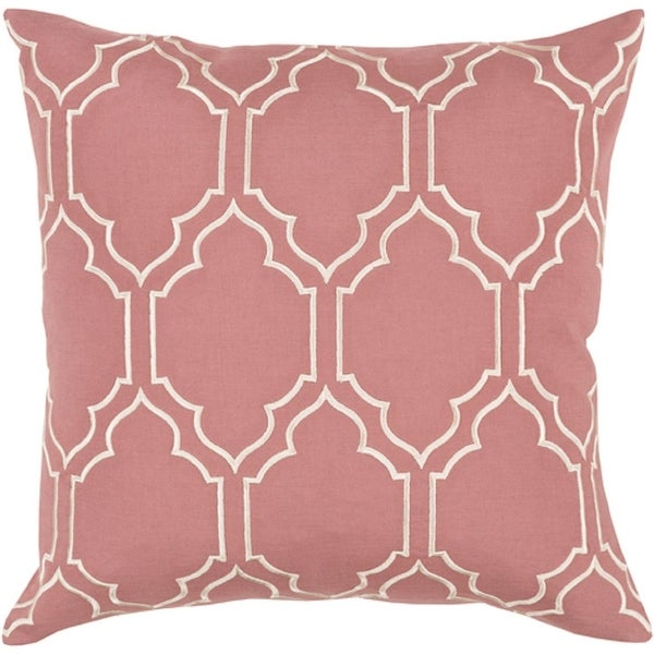 "18"" Rose and Cream Quatrefoil Decorative Throw Pillow – Polyester Filler"