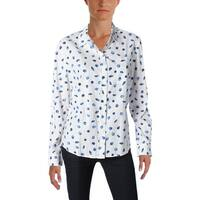 NYDJ Womens Button-Down Top Linen Printed