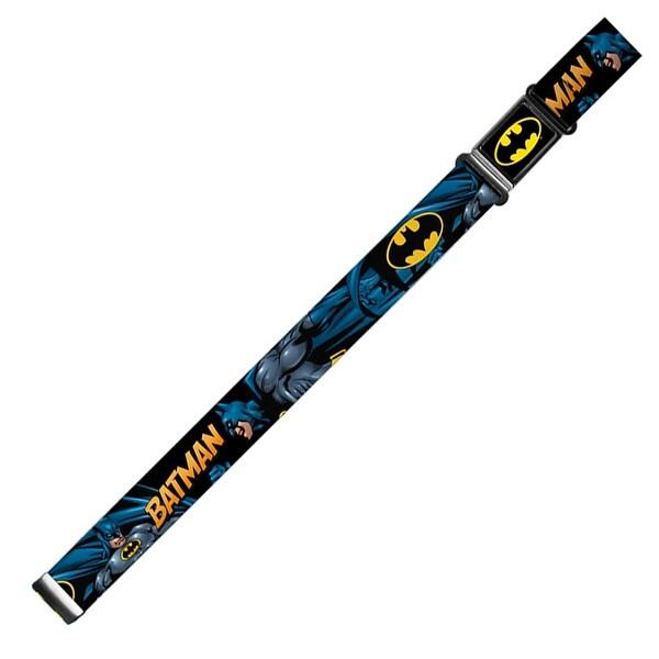 Batman Full Color Black Yellow Bat Signal Batman Action Poses Webbing Magnetic Web Belt - S