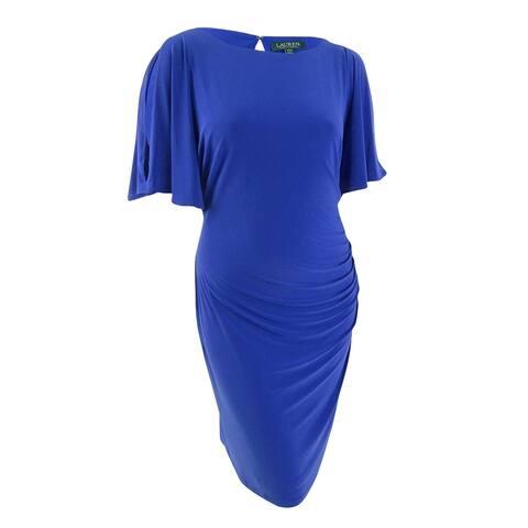 Lauren by Ralph Lauren Women's Ruched Jersey Sheath Dress (20W, Anchor Blue) - Anchor Blue - 20W