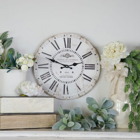 Wooden 13 inch-Wall Clock, White - 13 x 13 x 0.5